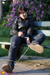 Handcuffs and leg irons outdoors