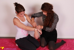 Anahí locking me in a wrist cage