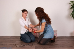Anahí handcuffing me