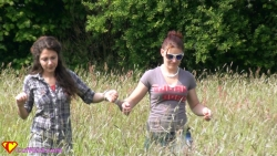 walking handcuffed through the field