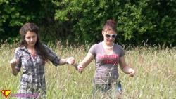 walking handcuffed through the field