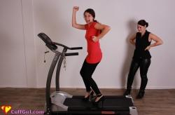 Cuffed on the treadmill